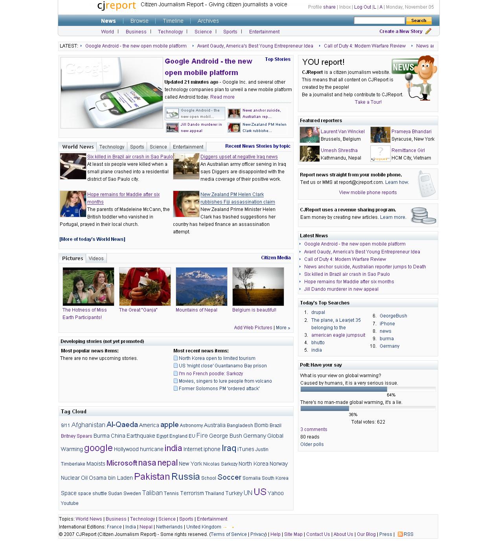 CJReport homepage screenshot 2